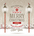 Christmas type design with vintage street lantern vector image