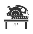 circular saw cutting wooden plank glyph icon vector image