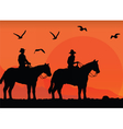 Cowboys silhouette at sunset vector image vector image