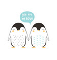 cute penguin isolated on white valentines day vector image