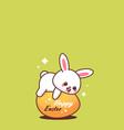 cute rabbit happy easter bunny sticker spring vector image vector image