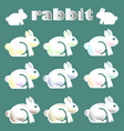 cute white rabbit icon vector image vector image