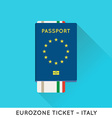 Eurozone Europe Passport with tickets Air Tickets vector image vector image