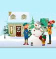 family building a snowman outdoor vector image vector image