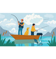 family fishing father and son catching fish with vector image
