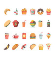 fast food icons junk food sandwich hamburger vector image