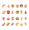 fast food icons junk food sandwich hamburger vector image vector image
