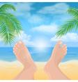feet on beach vector image vector image