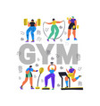 fitness club gym flat color word concept banner vector image vector image