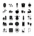 fitness drop shadow black glyph icons set vector image vector image