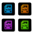 glowing neon xsl file document icon download xsl vector image vector image