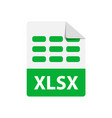 green icon xlsx file format extensions vector image vector image