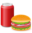 hamburger and aluminum cans with soda vector image vector image