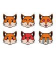 head emoji fox in pop art style vector image vector image