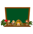 hiking children on blackboard vector image vector image