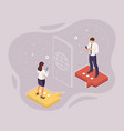 isometric business people chatting in a social vector image