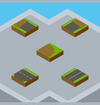 isometric road set of downward incomplete plane vector image vector image