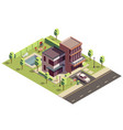 isometric suburban villa composition vector image