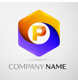 Letter P logo symbol in the colorful hexagonal on vector image vector image