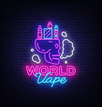 logo electronic cigarette in neon style vape shop vector image
