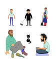 mens figures and cat vector image vector image