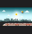 Modern train in abstract city vector image