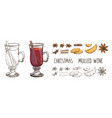 mulled wine with spices and orange slices set of vector image vector image