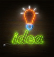 Neon Idea Text With Electricity Lightbulb vector image