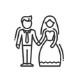 Newly Married Couple - line design single isolated vector image vector image
