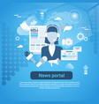 news portal web banner with copy space on blue vector image vector image