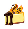 piece of birthday cheesecake with chocolate vector image vector image