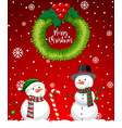red merry christmas snowman card vector image vector image