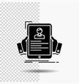 resume employee hiring hr profile glyph icon on vector image vector image