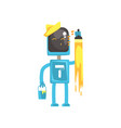 robot painter character android with paint brush vector image vector image