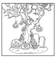 scary old tree with tied pumpkins near tombstones vector image vector image