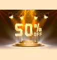 scene golden 50 sale off text banner night sign vector image vector image
