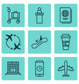 set of 9 airport icons includes call duration vector image vector image