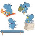 Set of hippos cartoon vector image