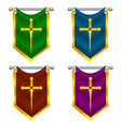 set of knight flags with sword vector image