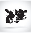 set of two abstract cow heads vector image vector image