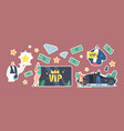 set stickers vip card celebrity lifestyle vector image vector image