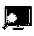 silhouette screen computer technology with vector image vector image