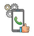 smartphone telephone hand like call center vector image
