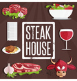 steak house with bullmeatwine and salad vector image vector image