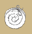 top view of rolled up fluffy towel spa salon vector image