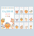 tribal animal calendar monthly 2021 calendar vector image vector image