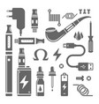 vape shop and e-cigarette set of icons vector image vector image