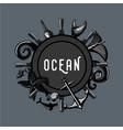 vintage ocean emblem retro travel lable marine vector image vector image