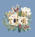 winter floral blooming elegant wedding invitation vector image vector image