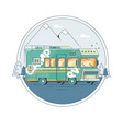 with a retro camper on the background vector image